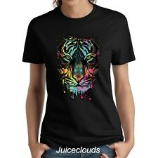 NEW Neon Tiger Ladies Shirt Tiger Splash Big Cat Women's Tee