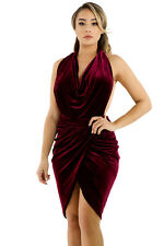 New Burgundy Draped Suede Open Back Bodycon Dress