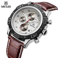 MEGIR Chronograph Men's Quartz Watch Stainless Steel Band Wrist HOT Classic New