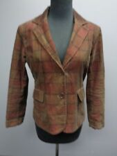 WOMYN Red Brown Plaid Cotton Two Button Collared Blazer Jacket Size 4 SMA7513
