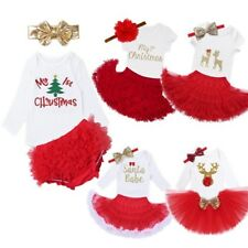 Red Baby Girls Christmas Romper Tops + Skirt/Shorts +Headband Outfits Clothes 3X