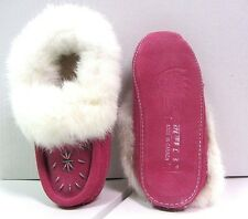 SALE 50% OFF. NEW WOMEN'S PINK SUEDE INDOOR MOCCASINS WITH RABBIT FUR SIZES 5-11