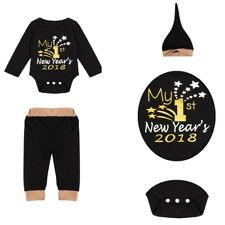Baby Boys Girl Newborn Clothes My 1st New Year 2018 Romper+Pants+Hat Outfits Set