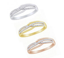 0.20 CT Round Cut Real Diamond In 10k Solid Gold Criss-Cross Wedding Band Ring