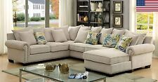 Transitional Ivory Fabric 3pc Sectional Sofa LIving Room Furniture Made In USA