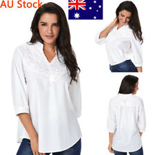 AU Women Casual 3/4 Sleeve Top Ladies Floral Lace Blouse Girls Stand Neck Shirt