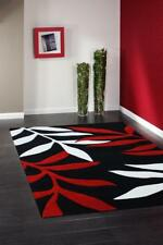 Stunning Leave Design Rug Black Red