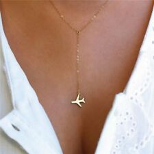 Women Fashion Gold Silver Plated Airplane Pendant Necklace Chain Jewellery Gift