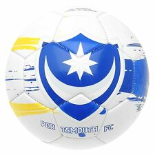 Portsmouth FC Pompey Graphic Football White/Blue/Yellow Soccer Ball