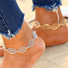 Hollow-Out Leaf Shape Anklet Bracelet Punk Gold Silver Plated Alloy Jewelry FP