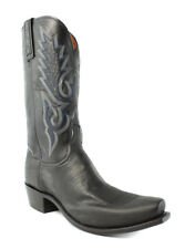 Lucchese N9579.74 Ryan Mens Black Smooth Ostrich Leather Cowboy Western Boots EE