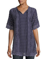 Johnny Was Lace Trim Embroidered Eyelet Tumi Boxy Top New Boho Chic #C11717