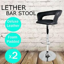 2x PU Leather Swivel Bar Stools Kitchen Dining Chair Padded Seat Gas Lift New