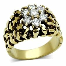 771 MENS SIGNET PINKY DERBY NUGGET  SIMULATED DIAMOND STAINLESS STEEL RING GOLD