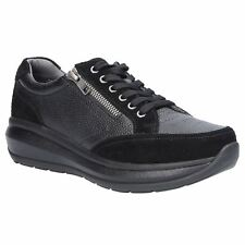Joya Berlin II Black Womens Leather Low-Top Zip-up Laced Sneakers Trainers