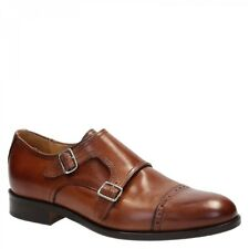 Handmade double monk strap dress shoes in brown leather - Leonardo Shoes
