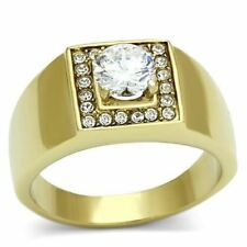 728 MENS SIGNET SIMULATED DIAMOND 316L STAINLESS STEEL 14K GOLD RING PINKY MANS