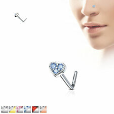 L Bend CZ Paved Heart 316L Surgical Steel Nose Studs / Ring