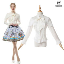 Women Lolita Bow Neckline Satin Chiffon Shirt Long Sleeve Ruffle Blouse Tops