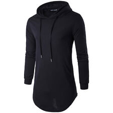 Mens Longline Hoodies T Shirt With Side Zipper Mens Long Sleeve Solid Hooded Top