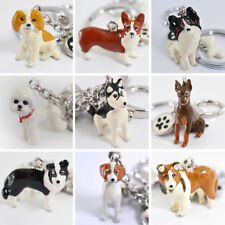 3D Pet Dog Keychains Hand-painted Craft Cute Dogs Key Ring Border Collie Shelti