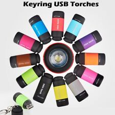 USB Rechargeable LED Light Flashlight Pocket Key Ring Chain Torch Waterproof