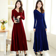 new spring autumn fashion temperament gorgeous elegant v-neck pleuche dress