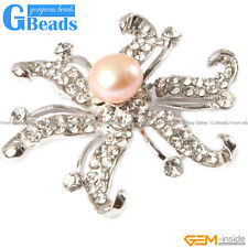 """9-10mm Natural Freshwater Pearl With White Gold Plated Starfish Shape Brooch 48"""""""