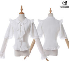 Women Lolita White Chiffon Shirt Double Layer Sleeves Ruffle Lace Blouse Tops