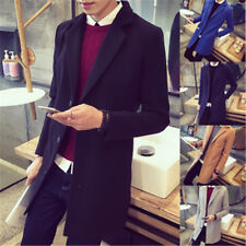Men's Slim Trench Wool Coat Thick Single Breasted Long Jacket Overcoat Clothes