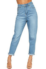 Womens High Waisted Turn Up Faded Straight Leg Denim Ladies Boyfriend Jeans