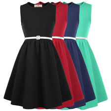 Vintage Kids Girls Sleeveless Round Neck A-Line Skater Dress With Leather Belt