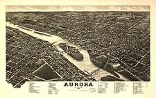Poster Print Antique American Cities Towns States Map Aurora Illinois