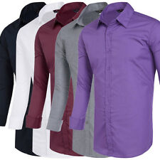 Men Teen Long Sleeve Slim Fit Shirt Tops Casual Formal Business Solid Color New!