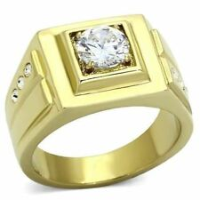 791 MENS SOLITAIRE SIGNET SIMULATED DIAMOND 316L STEEL 14K GOLD RING PINKY NEW