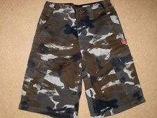 VOLCOM SCOUT Green/Black CAMOUFLAGE Youth BOYS Cargo Cotton SHORTS sz 24 (8) ec