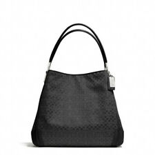 COACH Madison Phoebe OP Art Exotic Black Signature Shoulder Bag Purse #27843