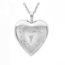 "925 Sterling Silver Heart Locket Pendant With Diamond On Silver Chain 16"" - 20"""