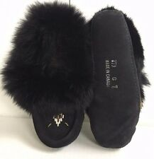 SALE. 50% OFF. NEW KIDS AUTH CANADIAN BLK SUEDE INDOOR MOCCASINS WITH RABBIT FUR