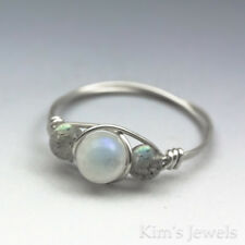 Rainbow Moonstone & Labradorite Sterling Silver Wire Wrap Bead Ring -Ships Fast!