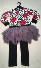 New Biscotti Little Girls 2 Piece Rose Pattern Dress With Leggings