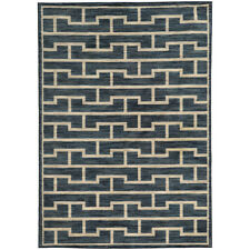 Blue Contemporary Synthetics Corners Stripes Blocks Area Rug All-Over 46177