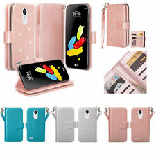 LG Cell  Flip Leather Wallet Card Stand Models +Strap Glitter Wallet Pouch Case