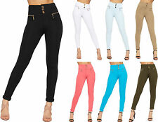 Womens High Waisted Skinny Leg Stretch Jeans Ladies 3 Button Zip Pants Trousers