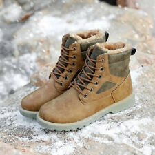Men's New Leather Velveteen Ankle Boots Winter Outdoor Lace Up Martin Boots a108