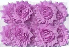 10 Lilac Lavender Purple shabby chiffon rose flowers, trim for hairclips & craft