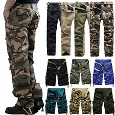 Combat Men's Cotton Army Military Cargo Pants Work Camouflage Shorts Trousers US