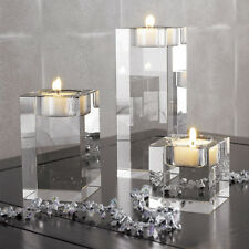 Romantic Clear Crystal Glass Cube Candle Holder Glass Stand Tealight Home Decor