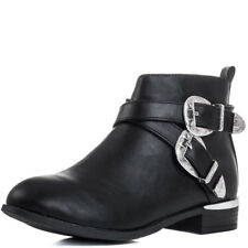 Womens Cowboy Western Buckle Flat Ankle Boots Shoes Sz 3-8