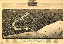 Poster Print Antique American Cities Towns States Map Sheboygan Wisconsin